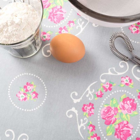 Nappe de table enduite grise et rose
